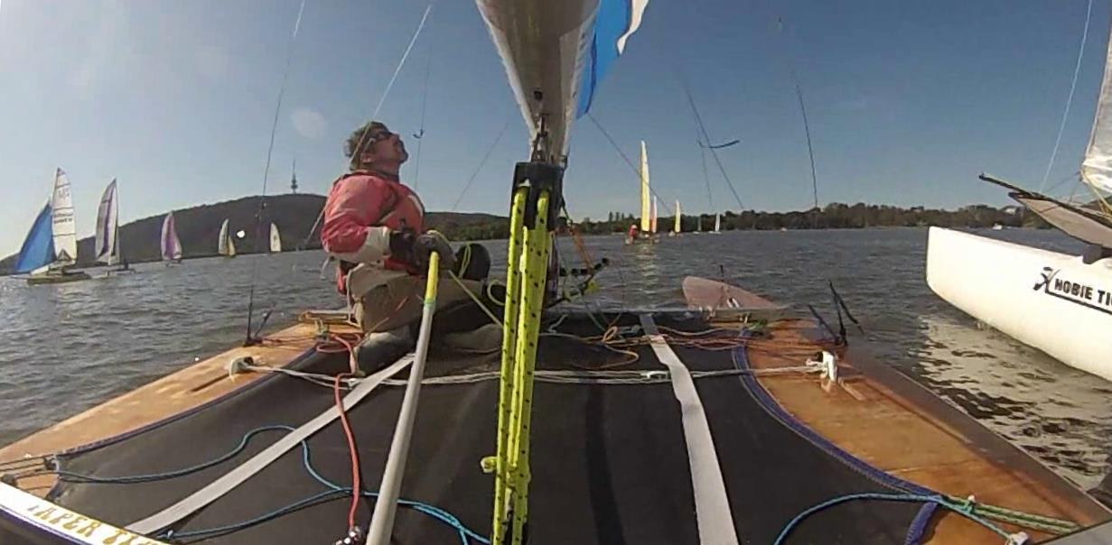 an on-board shot of Tony Hastings racing in the ACT Multihull Championships.
