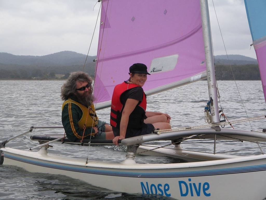 Karen Buckland enjoyed personal tuition on a Hobie 16 with champion Arild Helland at the helm (photo: Richard Barcham).