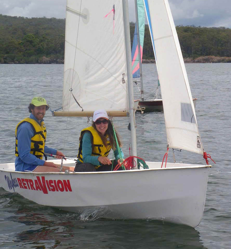 Gregory Parsons and Jeni McMillan enjoyed sailing their 1st race at Wallagoot, on the club's Pacer