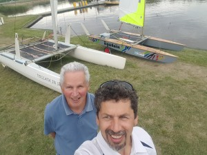 Richard and Tony Hastings ready to race in the ACT Multihull Champs