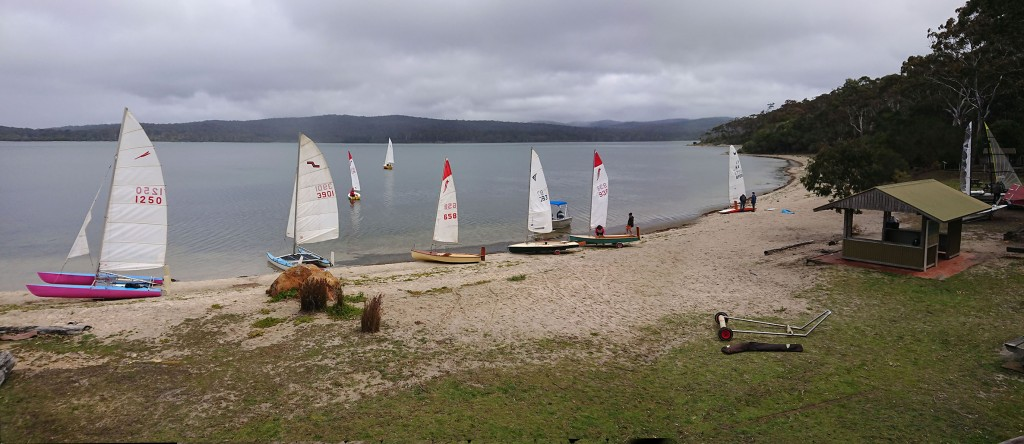Some of the boats preparing to launch for race one.